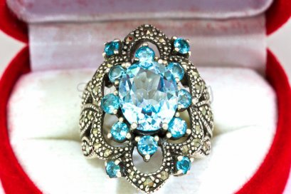 6.0 CT. BLUE AQUAMARINE SAPPHIRE SILVER 925 RING MEN SIZE 7 RARE LUXURY STYLE