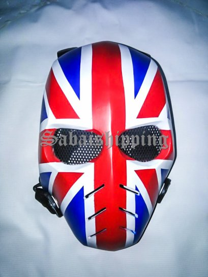 ARMY MASK PAINTBALL AIRSOFT BB GUN PROP HELMET GOGGLE ENGLAND FLAG PUNISHER