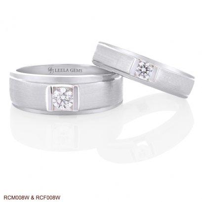 Couple Diamond Rings in 18K White Gold(copy)