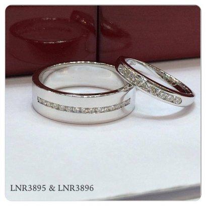 แหวนคู่เพชรแถว ทองขาว 18K