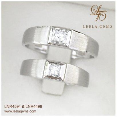 แหวนคู่เพชรสี่เหลี่ยม Princess