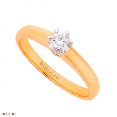 แหวนเพชรเม็ดเดียว ทองชมพู