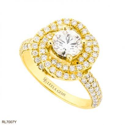 แหวนเพชรล้อมทรงดอกไม้ ตัวเรือนทอง