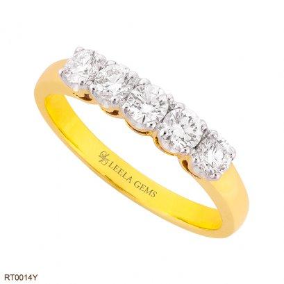 แหวนเพชรแถว 5 เม็ด