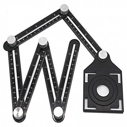 ไม้บรรทัดวัดมุม อุปกรณ์วัดระยะ ไม้บรรทัดวัดกระเบื้อง วัดรูเจาะกระเบื้อง (แม่แบบ 6 พับ)