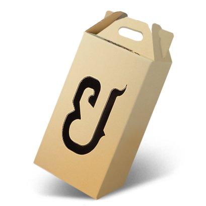 กล่องไดคัทหูหิ้วขนาด : 21.5 x 21.5 x 40 cm.