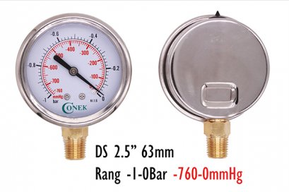 "-1 - 0 Bar Vacumm gauge  Dia 2.5"" 63MM ( -760-0mmhg)"