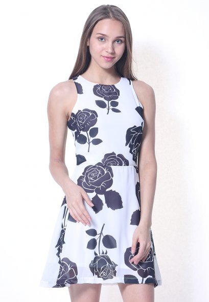 Rose Printed  Dress