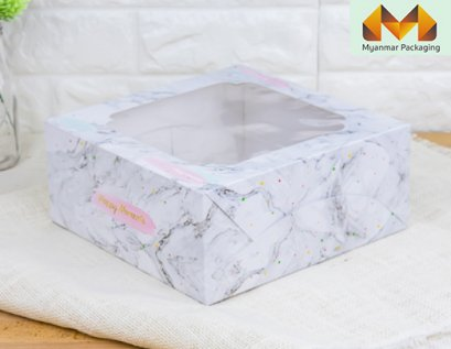 Cake Box Marble Pattern Printed 2 Pound