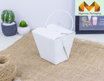 Noodle Box with handle - White