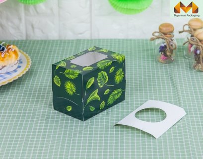 1 Cupcake box, Green Tropical + stand