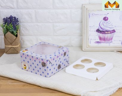 4 Cupcake box, Fabric pattern + stand