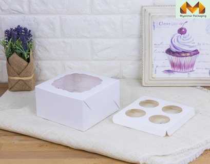 4 Cupcake box, white with window + stand