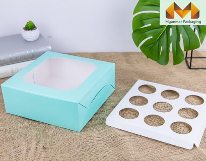 9 Cupcake box, Mint with wide window + stand