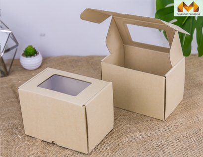 Corrugated Cardboard Box With Clear PVC Window - Brown 11x17x12 cm.