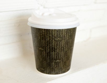 Insulated wall paper cup 8 oz. + Lid (White)