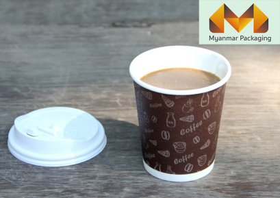 Insulated wall paper cup 8 oz. + Lid (White)(copy)