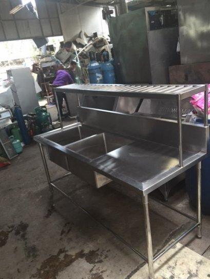 ซิงค์ล้างจาน 2 หลุม มีที่พักด้านข้างพร้อมแร็คคว่ำจานด้านบน