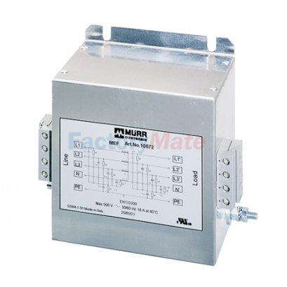 MEF EMC-FILTER 3-PHASE 1-STAGE WITH NEUTRAL I:10A,18A,36A,72A,100A,135A U:4x500 VAC