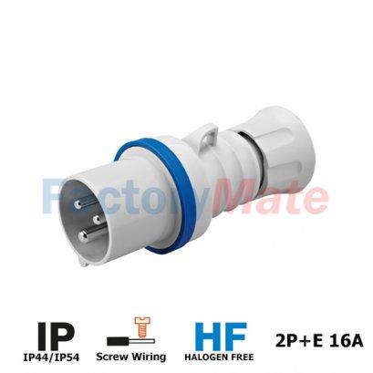 GW60004H IEC 309 HP range STRAIGHT PLUG HP - IP44/IP54 - 2P+E 16A 200-250V 50/60HZ - BLUE - 6H - SCREW WIRING.