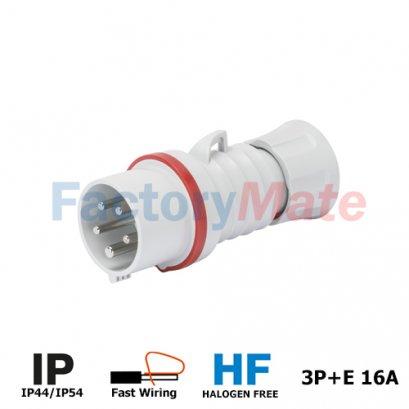 GW60008FH STRAIGHT PLUG HP - IP44/IP54 - 3P+E 16A 380-415V 50/60HZ - RED - 6H - FAST WIRING