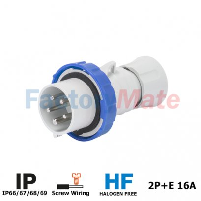 GW60026H STRAIGHT PLUG HP - IP66/IP67/IP68/IP69 - 2P+E 16A 200-250V 50/60HZ - BLUE - 6H - SCREW WIRING