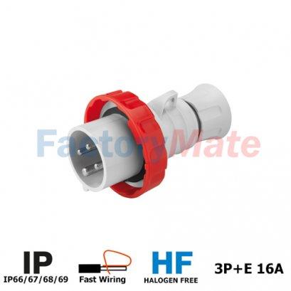 GW60030FH STRAIGHT PLUG HP - IP66/IP67/IP68/IP69 - 3P+E 16A 380-415V 50/60HZ - RED - 6H - FAST WIRING