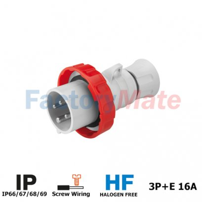 GW60030H STRAIGHT PLUG HP - IP66/IP67/IP68/IP69 - 3P+E 16A 380-415V 50/60HZ - RED - 6H - SCREW WIRING