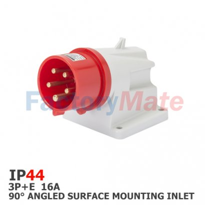 GW60408  90° ANGLED SURFACE MOUNTING INLET - IP44 - 3P+E 16A 380-415V 50/60HZ - RED - 6H - SCREW WIRING