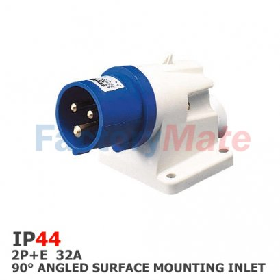 GW60415  90° ANGLED SURFACE MOUNTING INLET - IP44 - 2P+E 32A 200-250V 50/60HZ - BLUE - 6H - SCREW WIRING