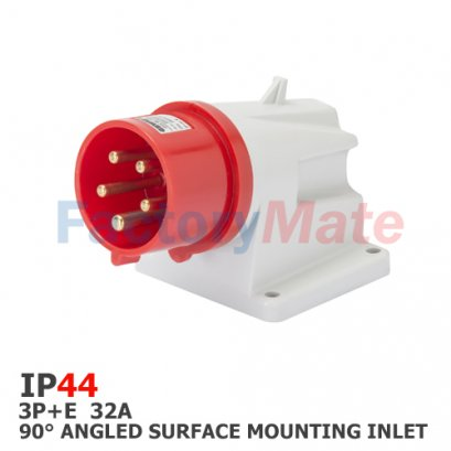 GW60419  90° ANGLED SURFACE MOUNTING INLET - IP44 - 3P+E 32A 380-415V 50/60HZ - RED - 6H - SCREW WIRING