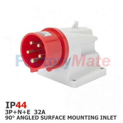 GW60420  90° ANGLED SURFACE MOUNTING INLET - IP44 - 3P+N+E 32A 380-415V 50/60HZ - RED - 6H - SCREW WIRING