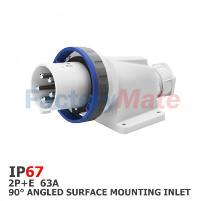 GW61448  90° ANGLED SURFACE MOUNTING INLET - IP67 - 2P+E 63A 200-250V 50/60HZ - BLUE - 6H - MANTLE TERMINAL