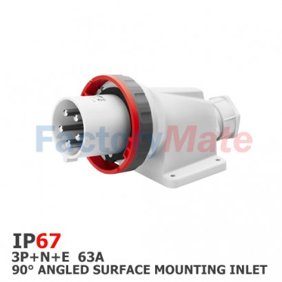 GW61453  90° ANGLED SURFACE MOUNTING INLET - IP67 - 3P+N+E 63A 380-415V 50/60HZ - RED - 6H - MANTLE TERMINAL