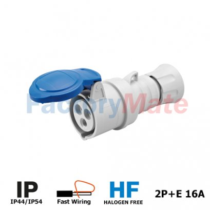 GW62004FH STRAIGHT CONNECTOR HP - IP44/IP54 - 2P+E 16A 200-250V 50/60HZ - BLUE - 6H - FAST WIRING