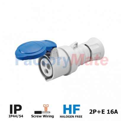 GW62004H STRAIGHT CONNECTOR HP - IP44/IP54 - 2P+E 16A 200-250V 50/60HZ - BLUE - 6H - SCREW WIRING