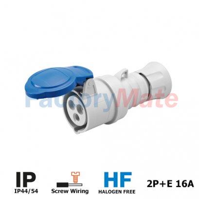 GW62004H STRAIGHT CONNECTOR HP - IP44/IP54 - 2P+E 16A 200-250V 50/60HZ - BLUE - 6H - SCREW WIRING