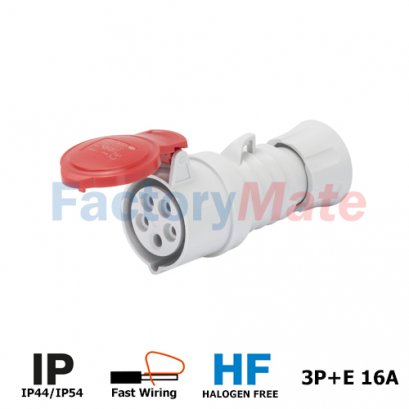 GW62008FH  STRAIGHT CONNECTOR HP - IP44/IP54 - 3P+E 16A 380-415V 50/60HZ - RED - 6H - FAST WIRING