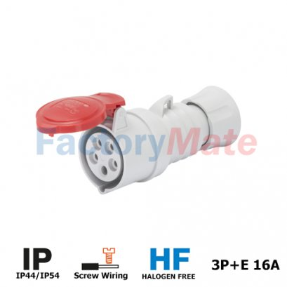GW62008H  STRAIGHT CONNECTOR HP - IP44/IP54 - 3P+E 16A 380-415V 50/60HZ - RED - 6H - FAST WIRING