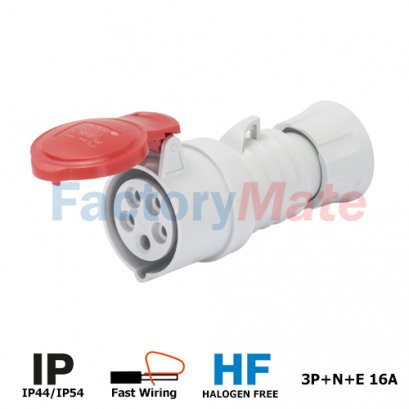 GW62009FH  STRAIGHT CONNECTOR HP - IP44/IP54 - 3P+N+E 16A 380-415V 50/60HZ - RED - 6H - FAST WIRING