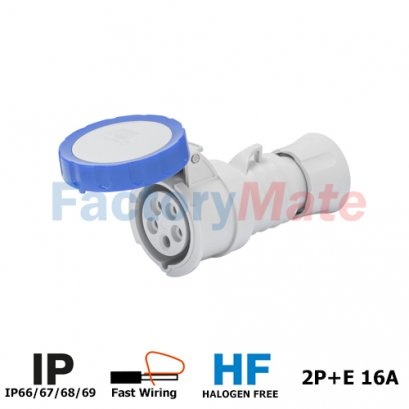 GW62026FH STRAIGHT CONNECTOR HP - IP66/IP67/IP68/IP69 - 2P+E 16A 200-250V 50/60HZ - BLUE - 6H - FAST WIRING