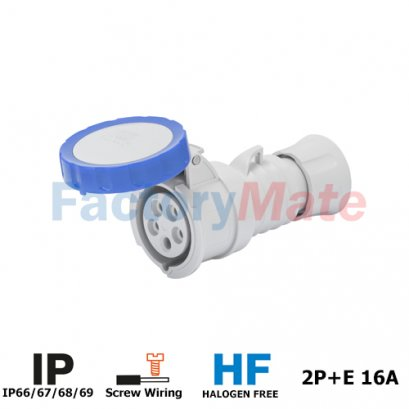 GW62026H STRAIGHT CONNECTOR HP - IP66/IP67/IP68/IP69 - 2P+E 16A 200-250V 50/60HZ - BLUE - 6H - SCREW WIRING