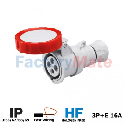GW62030FH STRAIGHT CONNECTOR HP - IP66/IP67/IP68/IP69 - 3P+E 16A 380-415V 50/60HZ - RED - 6H - FAST WIRING