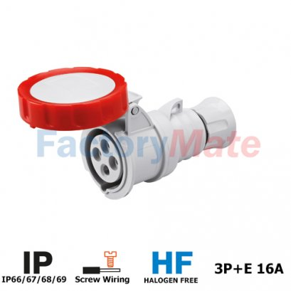 GW62030H STRAIGHT CONNECTOR HP - IP66/IP67/IP68/IP69 - 3P+E 16A 380-415V 50/60HZ - RED - 6H - SCREW WIRING