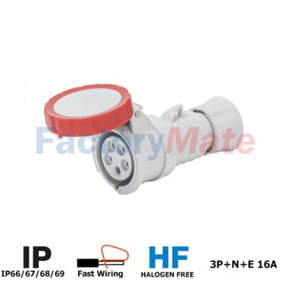 GW62031FH  STRAIGHT CONNECTOR HP - IP66/IP67/IP68/IP69 - 3P+N+E 16A 380-415V 50/60HZ - RED - 6H - FAST WIRING