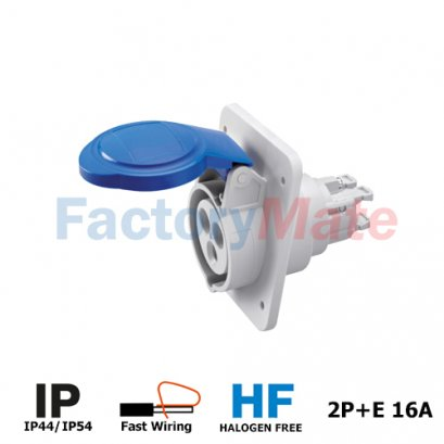 GW62205FH 10° ANGLED FLUSH-MOUNTING SOCKET-OUTLET HP - IP44/IP54 - 2P+E 16A 200-250V 50/60HZ - BLUE - 6H - FAST WIRING