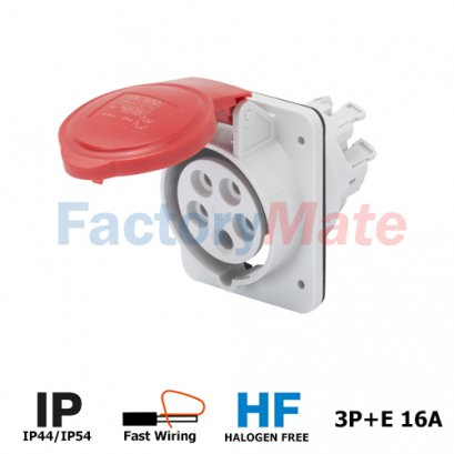 GW62209FH  10° ANGLED FLUSH-MOUNTING SOCKET-OUTLET HP - IP44/IP54 - 3P+E 16A 380-415V 50/60HZ - RED - 6H - FAST WIRING
