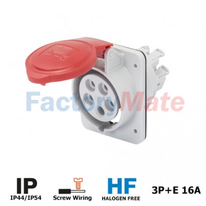 GW62209H  10° ANGLED FLUSH-MOUNTING SOCKET-OUTLET HP - IP44/IP54 - 3P+E 16A 380-415V 50/60HZ - RED - 6H - SCREW WIRING