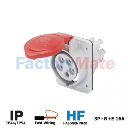 GW62210FH  10° ANGLED FLUSH-MOUNTING SOCKET-OUTLET HP - IP44/IP54 - 3P+N+E 16A 380-415V 50/60HZ - RED - 6H - FAST WIRING