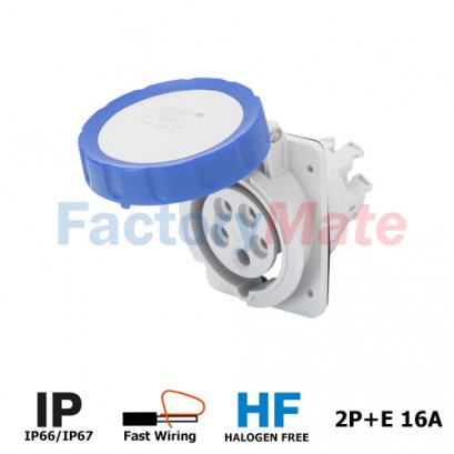GW62227FH 10° ANGLED FLUSH-MOUNTING SOCKET-OUTLET HP - IP66/IP67 - 2P+E 16A 200-250V 50/60HZ - BLUE - 6H - FAST WIRING